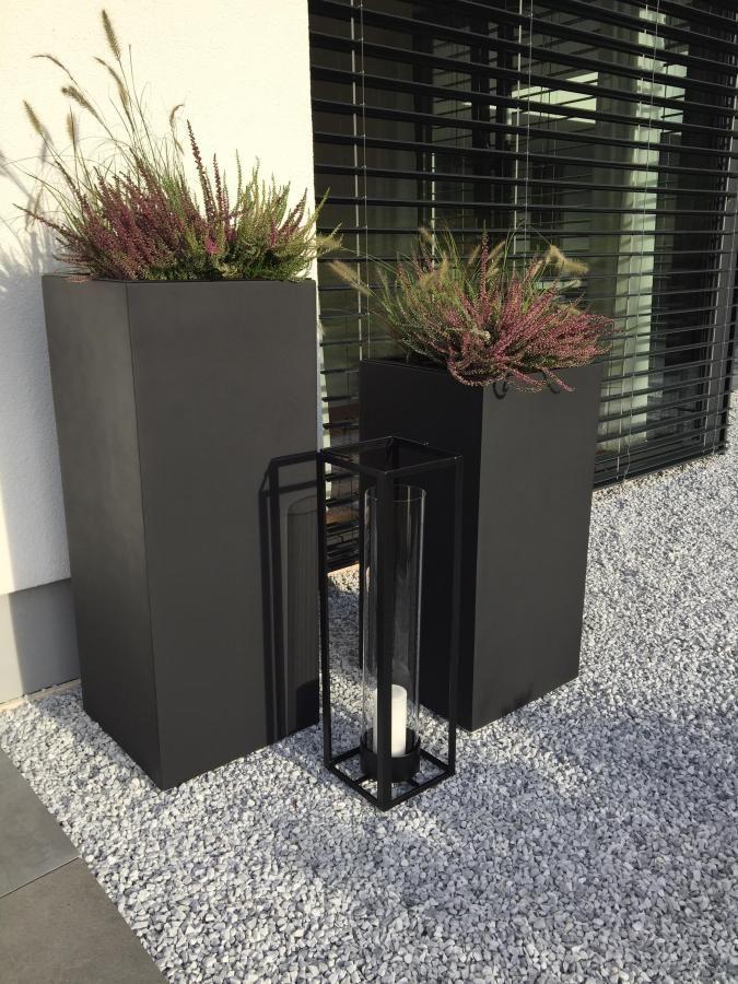 """Planter Planter Fiberglass """"Block"""" column, anthracite   – Pflanzkübel für Hauseingang & Auffahrt"""