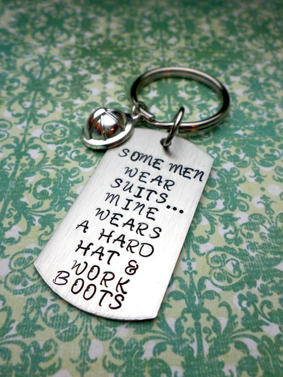 Hard Hat and Boots Keychain Oilfield Wife by HandmadeLoveStories, $30.00: