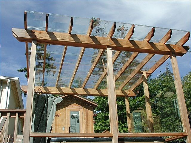 Covers Modular polycarbonate panel system used to cover suitably built structure. Used to protect open spaces or as insulated roofs for sunrooms or solariums.  Strength depends on sub-structure – we do not offer the support system. Offered in clear, semi-clear, and several tints. Can be installed by us or a DIY kits. Open air pergolas are useful in the summer, …