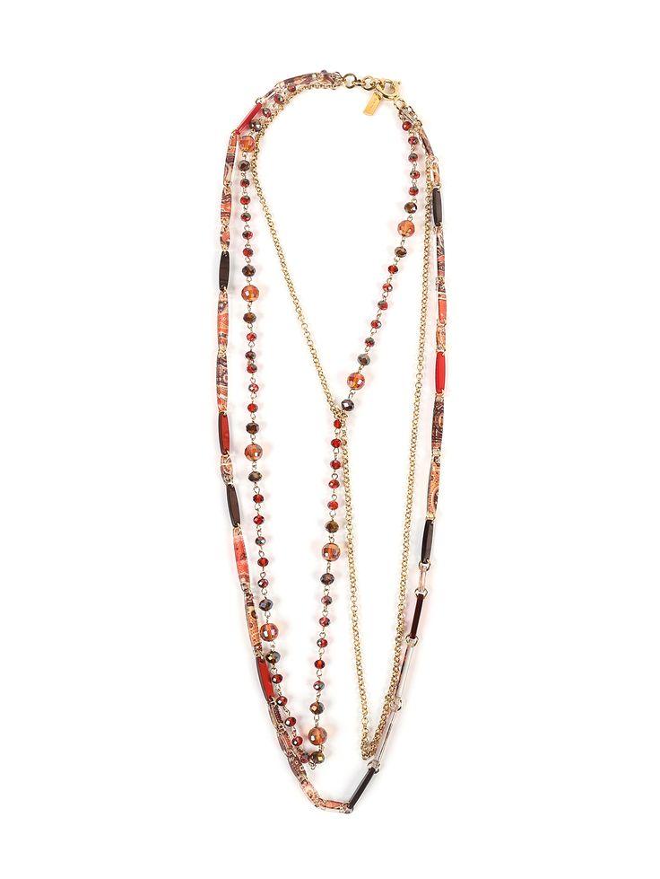 Купить Etro красное ожерелье из латуни и пластика с узором (221432), цена на ожерелие в интернет-магазине Bosco.ru – 11 350 руб.