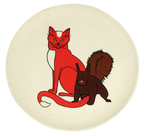 HUNGRY CAT PLATE. Kids plate. based on bamboo fiber. Eco friendly. Check out other prints