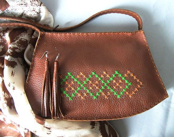Small leather ladies handbag/ brown leather by MaroshaHandmade