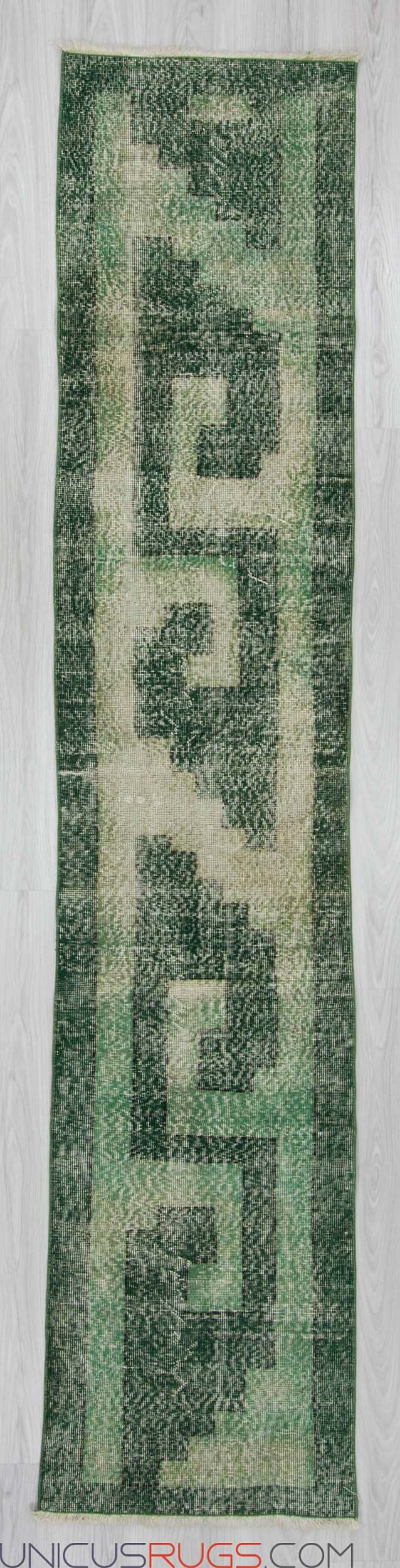 """Vintage modern distresed runner rug from Isparta region of Turkey. In very good condition. Approximately 45-55 years old Width: 2' 2"""" - Length: 10' 3"""" RUNNERS"""