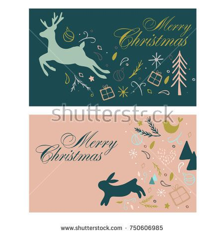 Vector mail Merry Christmas card with reindeer, hair, bird, presents, snowflakes and trees