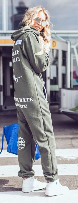 Hooded Oversized Jumpsuit Military Style