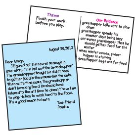 RL.2.2; RL.3.2 Recount stories, including fables, folktales, and myths from diverse cultures; determine the central message, lesson, or moral and explain how it is conveyed through key details in the text. Post a two-column chart labeled as shown. After reading a fable, have student groups brainstorm ideas about the story's theme. Then write the story's theme on the chart. Direct students to refer to the fable to find evidence that supports the theme. List this information on the chart.