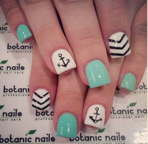 Summer mani: Anchors, Summer Nails Design, Nails Art, Sailors Nails, Acrylics Nails Design, Summer Nails, Nail Design, Nautical Nails, Nails Designs