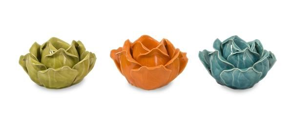 A vibrantly colored set of three ceramic flower shaped candle holders will add a pop of fun to your home's decor! I Shop Rug & Home I