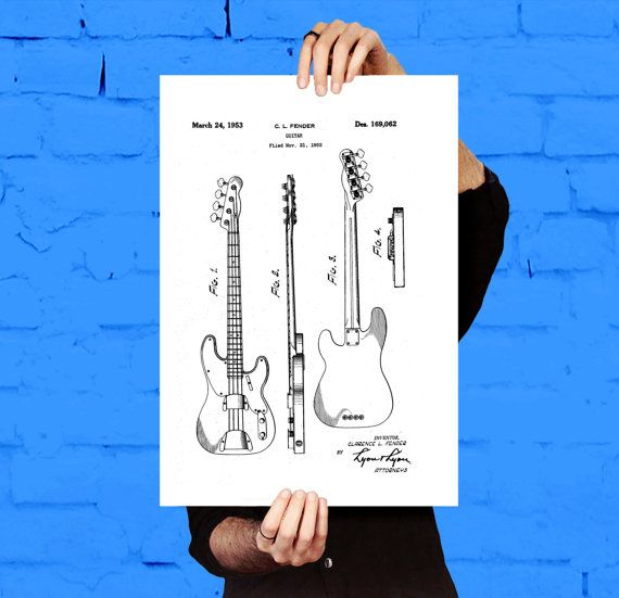 Fender Bass Guitar Poster,Fender Bass Guitar Patent,Fender Bass Guitar Decor, Fender Bass Guitar Print, Fender Bass Guitar Blueprint, Fender by STANLEYprintHOUSE  0.79 USD  Fender Bass Guitar Poster,Fender Bass Guitar Patent,Fender Bass Guitar Decor, Fender Bass Guitar Print, Fender Bass Guitar Blueprint, Fender  This is a vintage patent print. The Fender Bass Guitar from 1952.  Alternate colours available just ask. This patent looks best on a black bac ..  https://www.etsy.com/ca/..
