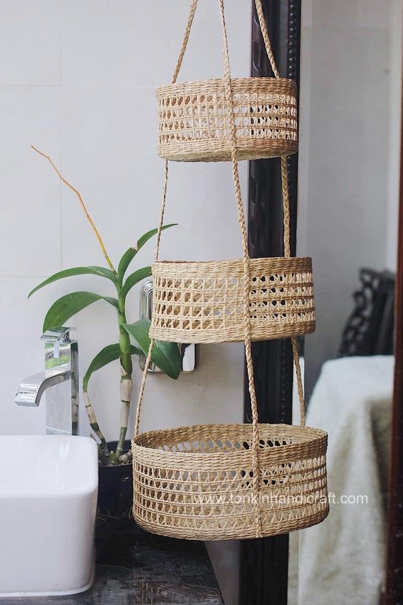 seagrass hanging fruit 3-tiers basket, planter, container