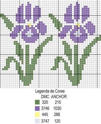 ponto-cruz-flores-17-500x400 78 gráficos de flores em ponto cruz para imprimir