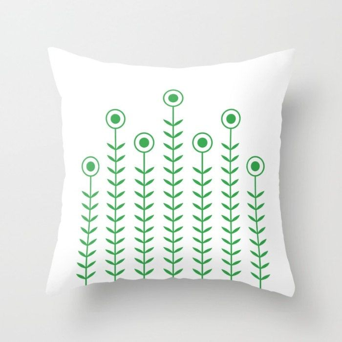36 colours, Minimalist Flowers Decorative Pillow Cover, Classic Green pillow case, Scandinavian style Cushion cover, Indoor or Outdoor cover by ThingsThatSing on Etsy