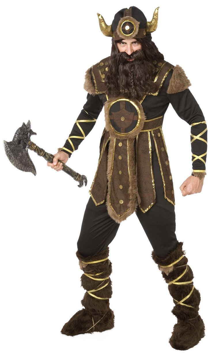 Disfraz de vikingo para adulto: Este disfraz de vikingo para adulto está compuesto de un mono y un casco de tela con lazos dorados (peluca, barba, escudo y cubrebotas no incluidos).El conjunto es negro y se cierra con...