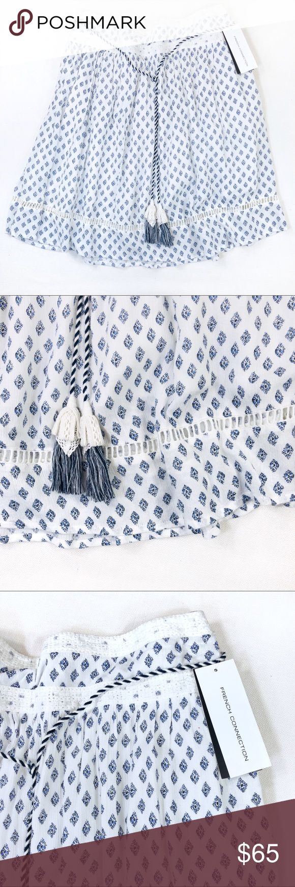 French Connection Ava Tile Flared Skirt NWT • French Connection • Ava Tile • Tassel Belt • Side Zipper • Flared Skirt • Size 10   Condition • New With Tag French Connection Skirts