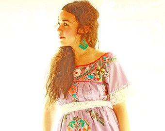 Mexikanische Tunika Kleid bestickt handgemachte von AidaCoronado