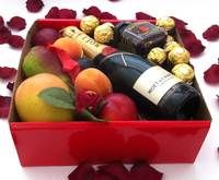 Moet Chandon Piccolo 200ml Red Gift Box + Wild Hibiscus Flowers + Chocolates  http://www.igiftfruithampers.com.au/mothers-day-gift-baskets/  Mothers Day Hampers - full of fruit! Add something sweet, cute or bubbly and then finish it off with some beautiful silk roses. #mothersdayhampers #mothersday #mothers #hampers #gift hampers #fruitbaskets #fruit #baskets #gifts