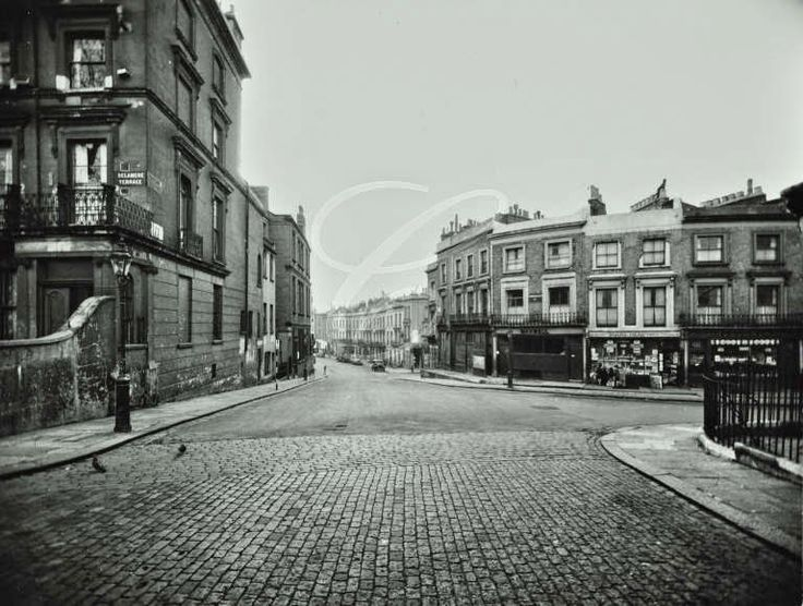 Delamere Terrace • Junction with Lord Hills Road • 1958