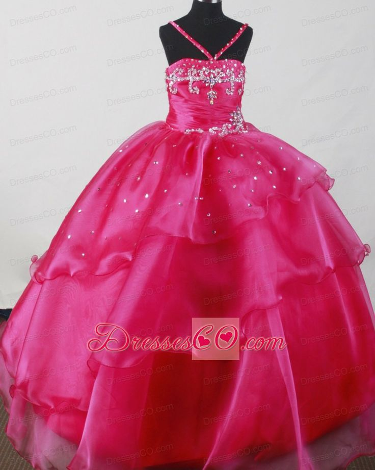 ball gown dresses for girls beautiful straps fuchsia