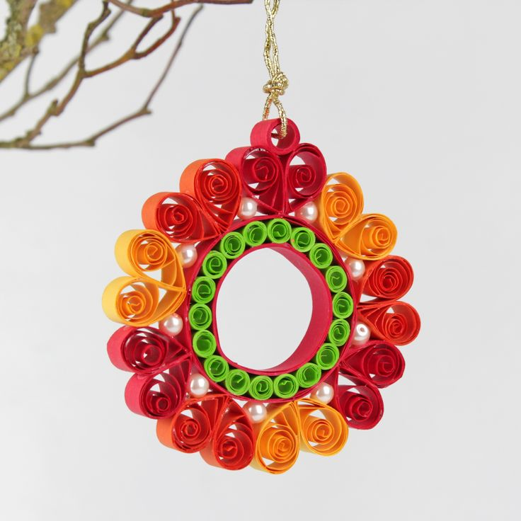 Christmas Red quilling round Quilling snowflake