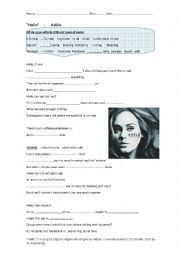 English worksheet: Hello song by Adele:  gapfill