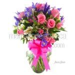 Arreglo Floral de Bouquet con Rosas Fino Iris ! Florerias DF
