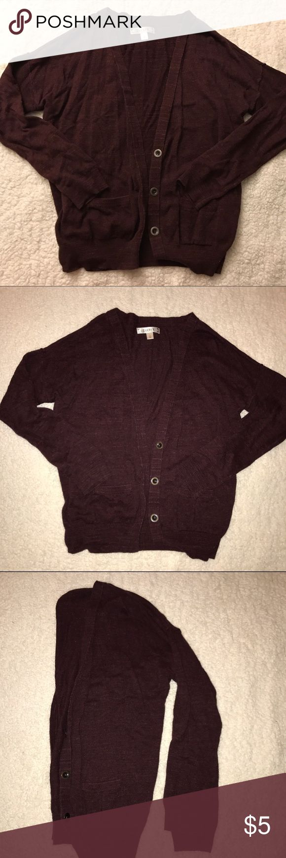 Maroon Cardigan Loose fit cardigan. Marled/heather maroon color. Sweaters Cardigans