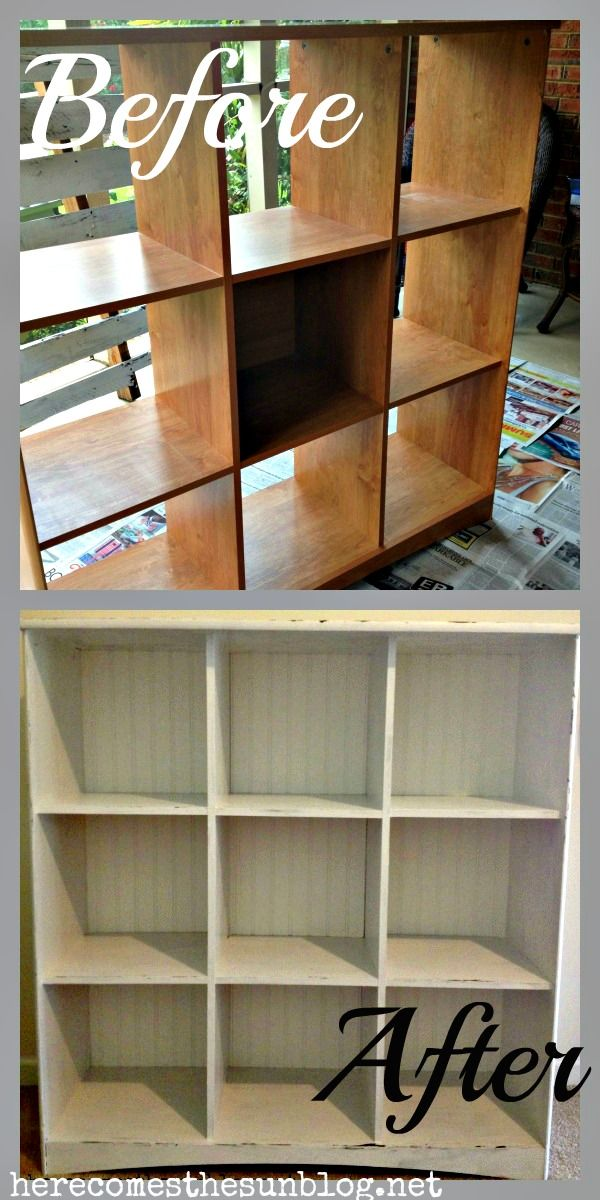 Here Comes the Sun: Cubby Storage Makeover {DIY Chalk Paint}... Ikea has these for cheap, but they are a little too modern for me... How perfect!