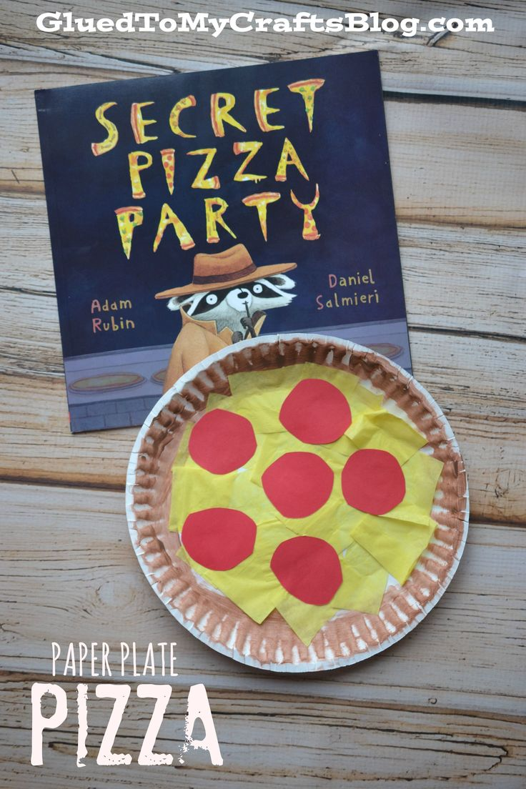 Pizza lessons and a pizza coloring page printable - Paper Plate Pizza Kid Craft