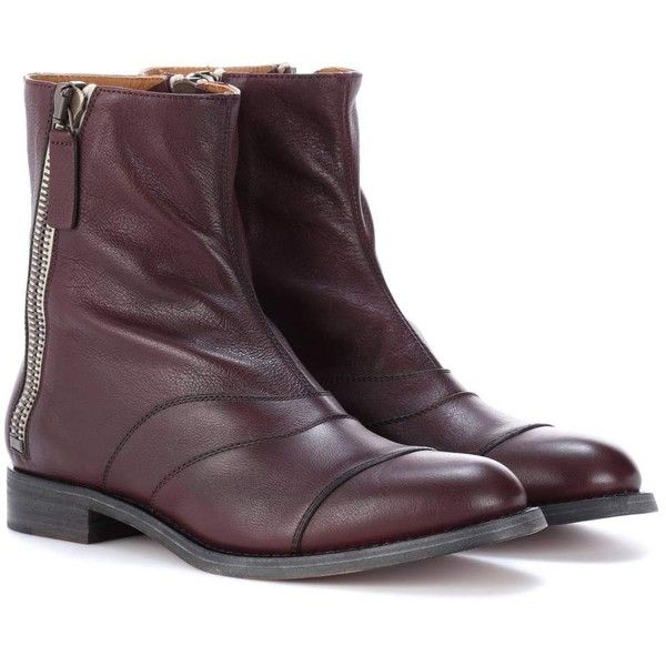 Chloé Lexie Leather Ankle Boots ($1,265) ❤ liked on Polyvore featuring shoes, boots, ankle booties, purple, genuine leather boots, chloe boots, real leather boots, purple ankle boots and bootie boots