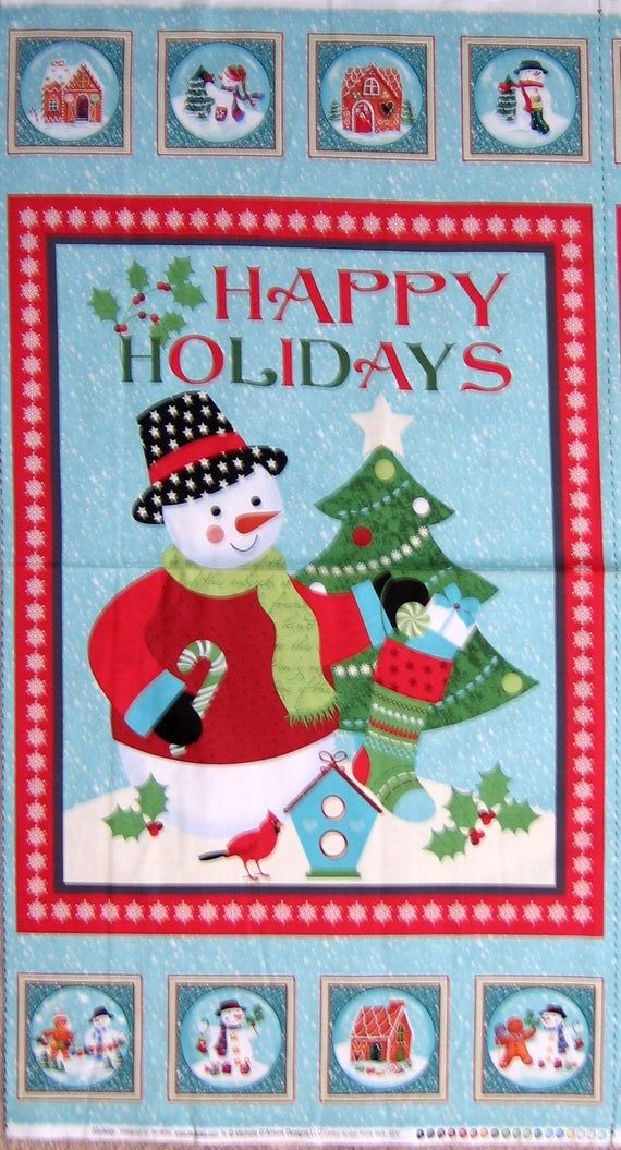 Holiday Snowmen Christmas Wall Hanging Cotton Quilting Fabric Panel by Benartex