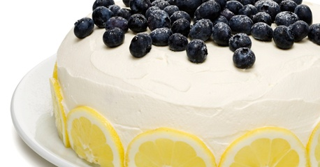 Layer cake with a lemon & blueberry filling