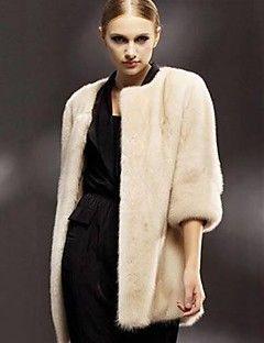 kadın zarif taklit kürk sıcak ¾ kollu ceket