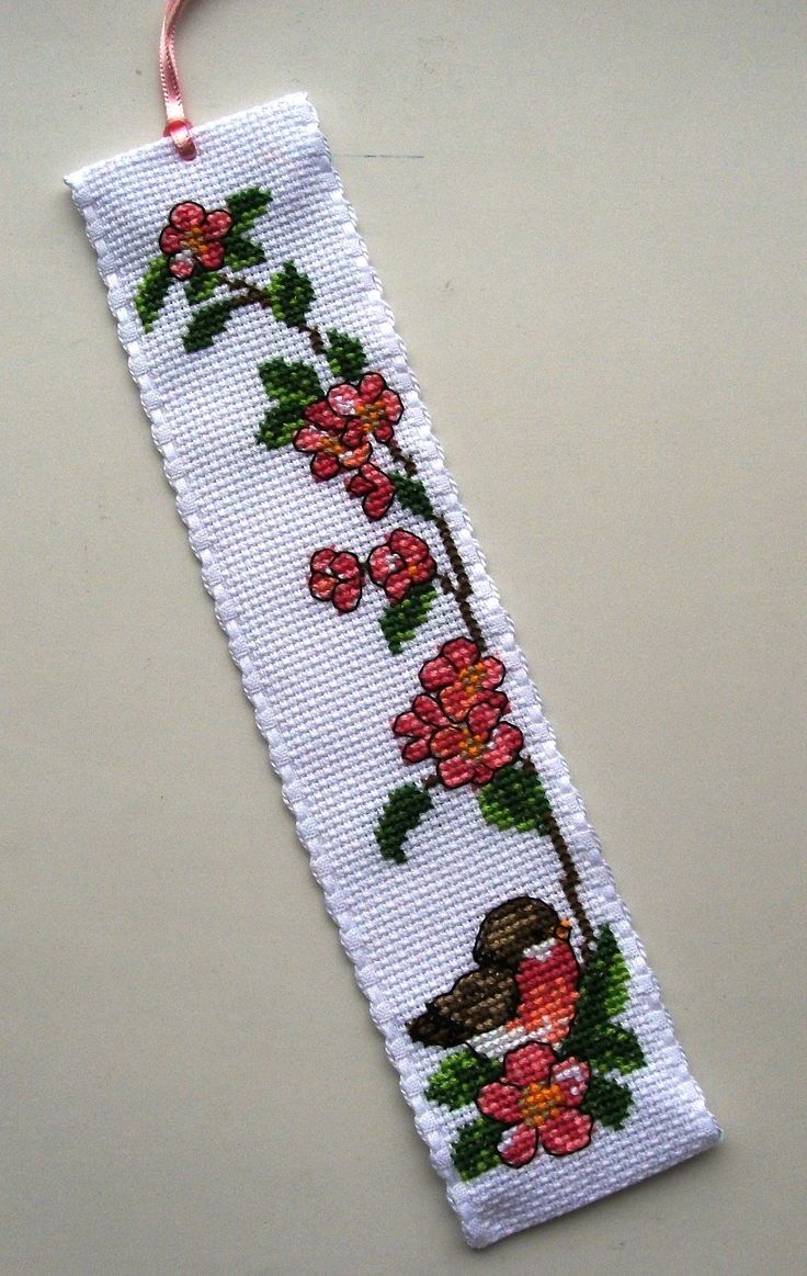 Chaffinch & Rose bookmark.Permin.