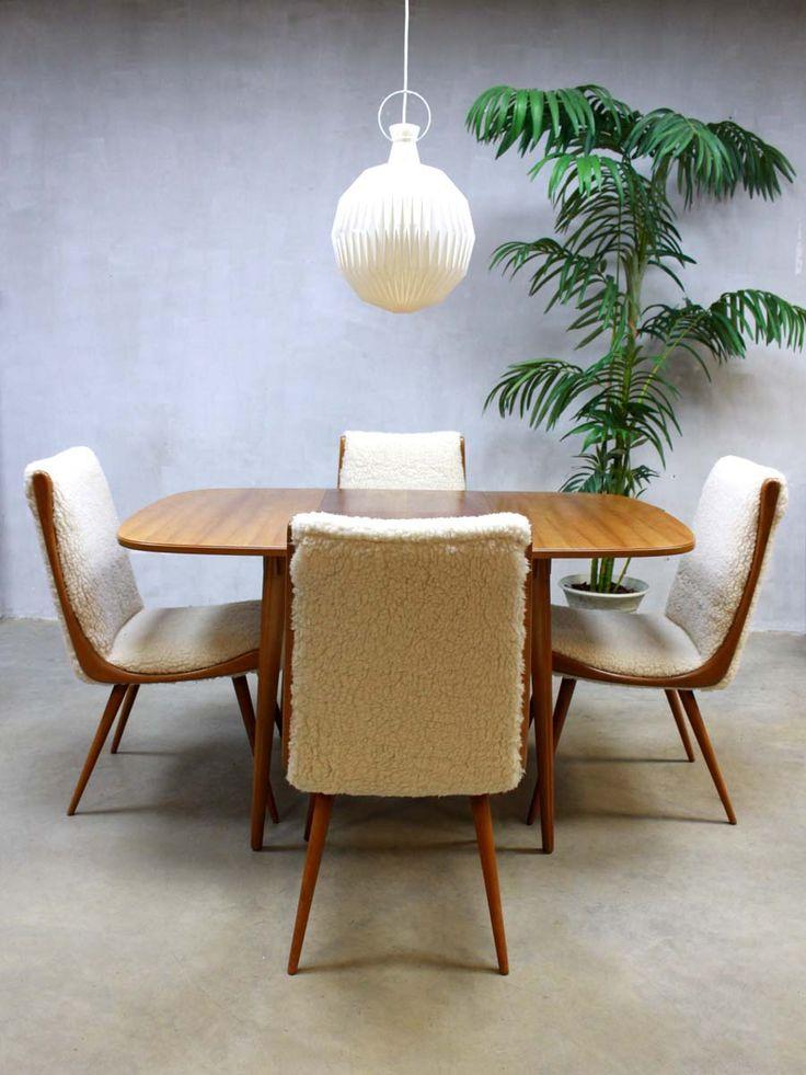 Mid century design sheep dinner set, vintage design Deense eetkamer set eetkamer stoelen eetkamer tafel jaren 60 schapenvacht