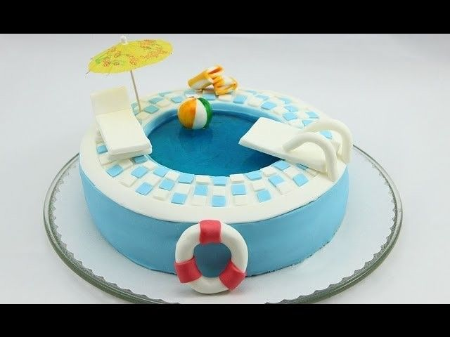 Attractive Pool Torte. Pool Cake. Swimming Pool Cake Selber