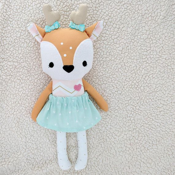 Adorable & sweet! Handmade deer doll....customized just for you!  This listing is for one handmade deer doll. Doll is made using quality cotton fabrics, fleece, and filled with poly fiber fill. Doll faces are hand-painted and/or hand embroidered. This sweet deer is sure to make the perfect playmate for any child!  Doll measures approximately 18 tall.  Gentle play is recommended. Spot clean only.  Each doll is handmade with care from a smoke-free, pet-free home.   The clothing on the ...