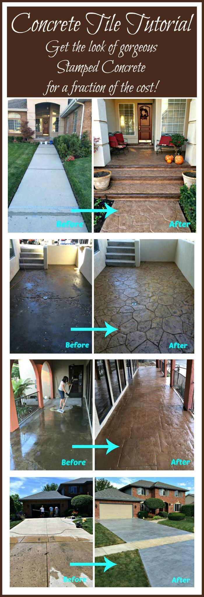 DIY CONCRETE TILE TUTORIAL - Full step by step tutorial on how to get the look of stamped concrete for a fraction of the cost, using concrete tiles! DIY, Do It Yourself, #DIY
