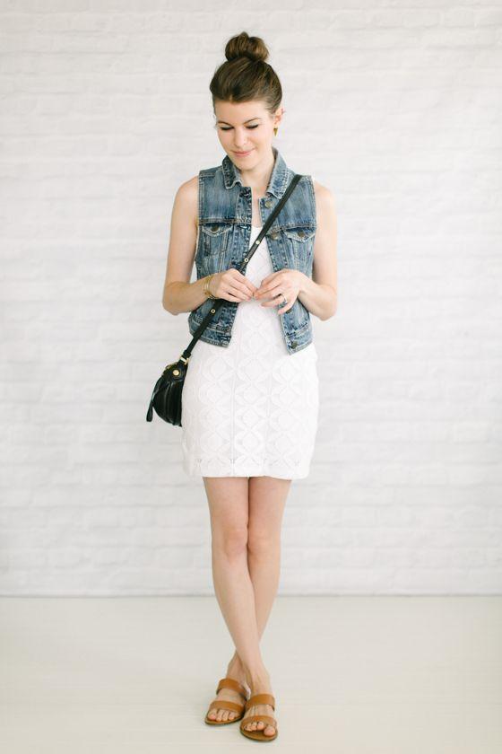little white dress   jean vest