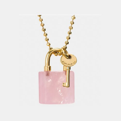 COACH LOCK and key necklace GOLD/PETAL PINK // As seen on Chanel #5, played by Abigail Breslin, in promotional photos for Scream Queens season 1.