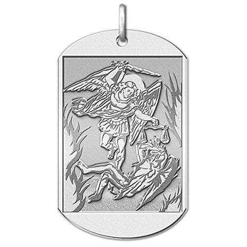 CHAIN IS NOT INCLUDED  Available in Solid 14K Yellow or White Gold or in Sterling Silver  Size Reference:  17mm is the size of a US dime  19mm is the size of a US nickel  25mm is the size of a US quarter  Michael is the Archangel mentioned in the Book of Revelation 12:7. In the Old Testament Michael is mentioned by name in the Persian context of the Book of Daniel. He is generally presented as the field commander of the Army of God. There Michael appears as one of the chief princes (Daniel…