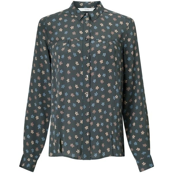 Numph Darcel Floral Print Shirt ($73) ❤ liked on Polyvore featuring tops, iron gate, floral sleeve shirt, floral pattern shirt, ripped shirt, long sleeve tops and long-sleeve crop tops