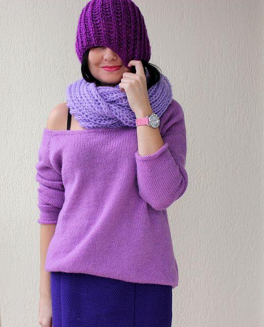 IMG_2708 by KuzminaKnit, via Flickr шарф и шапка в две нити Ангора