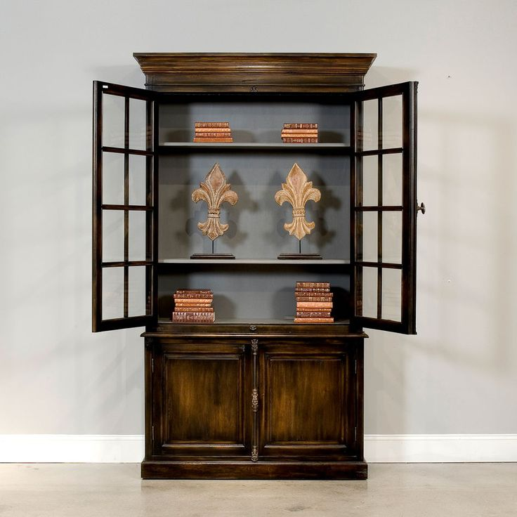 Traditional Solid Oak Bookcase Cupboard Ebony Exterior Gray Interior Ships Free