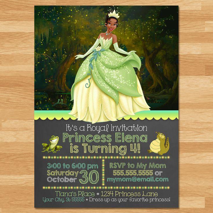 Princess and the Frog Invitation Chalkboard Frog Princess