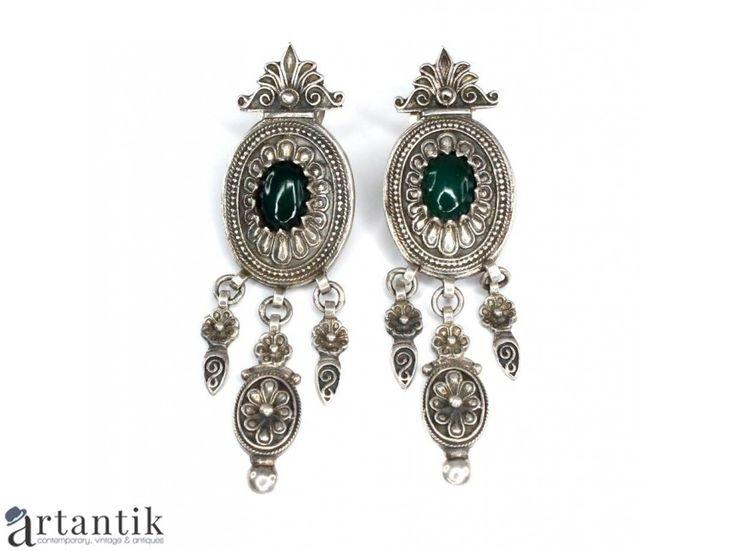 Cercei etnici indieni tip candelabru - argint &agata verde