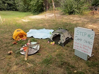 "Great idea for up coming Webelos Wkend. Set up a ""Camp OH NO!"" to demonstrate the principles of Leave No Trace"