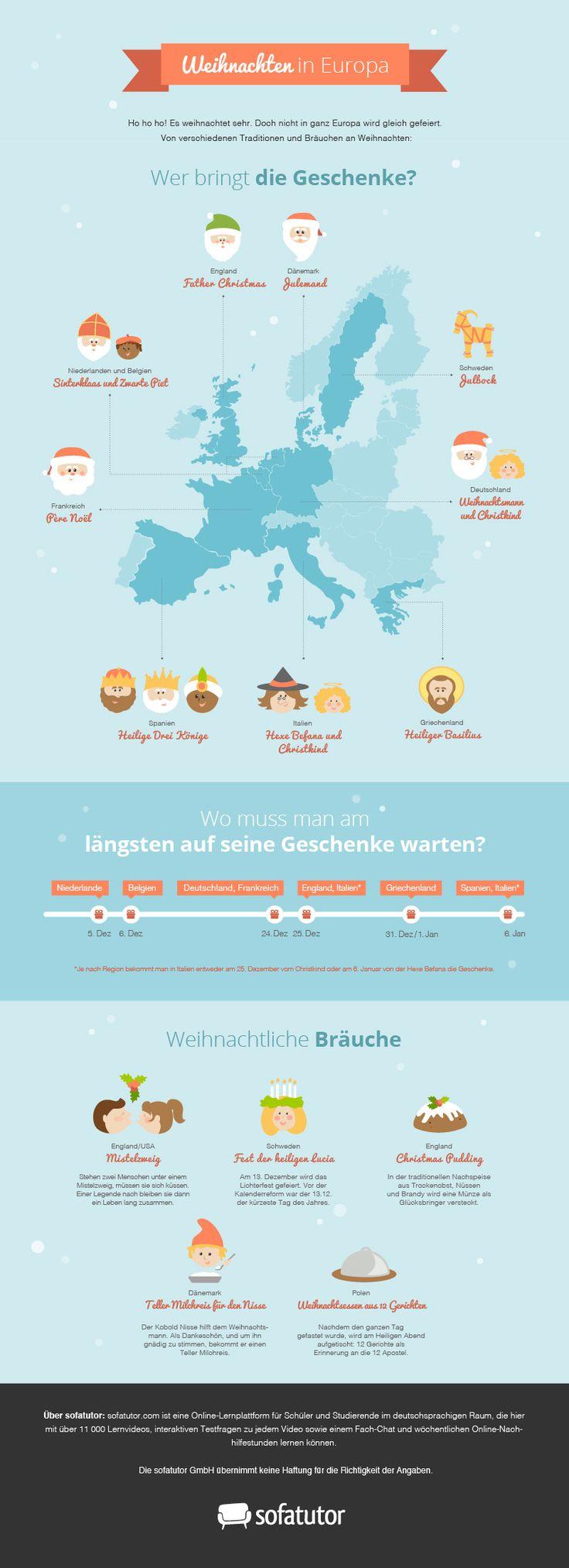 """Infografik """"Weihnachten in Europa"""": Wer bringt wann die Weihnachtsgeschenke? Welche Weihnachtsbräuche gibt es in Europa? (http://magazin.sofatutor.com/lehrer/) Infografik zu Weihnachten"""