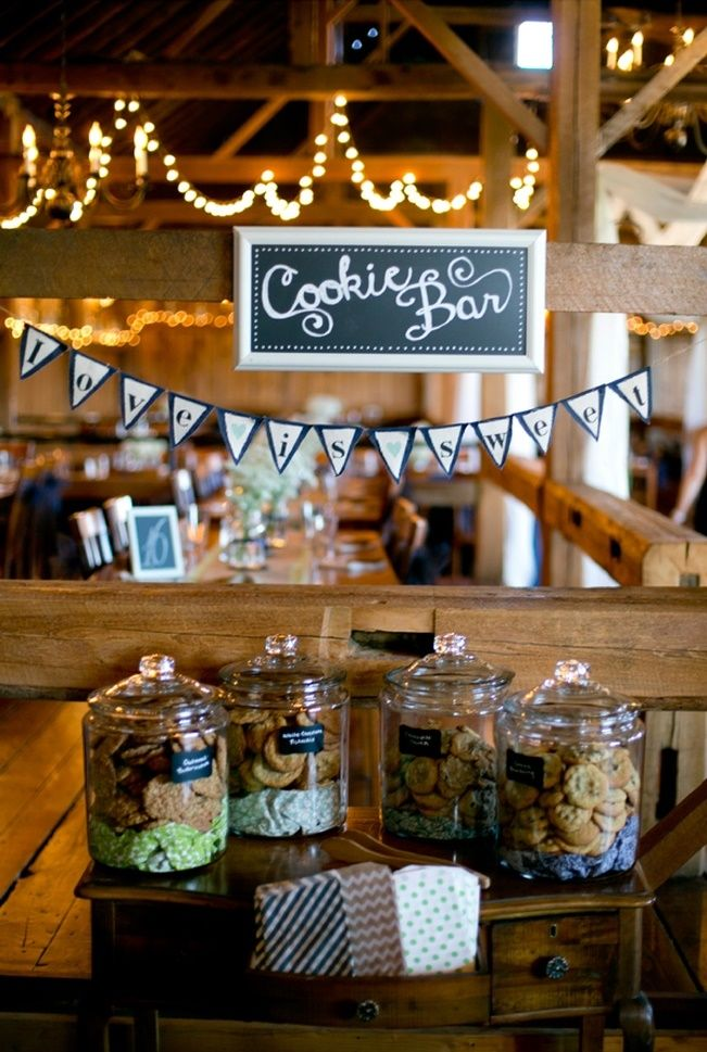 Sweet Violet Bride - http://sweetvioletbride.com/2013/11/10-wedding-cake-alternatives/10. Cookie Bar This one works as a supplement to other sweet treat stations around your venue, or could replace the cake entirely if you'd like. And though this could be used anywhere, it just seems so fitting for a rustic wedding venue.