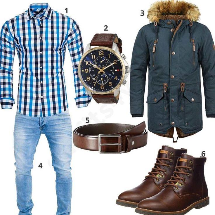 Herrenoutfit mit Hemd, Parka und Boots – Chris Carlson