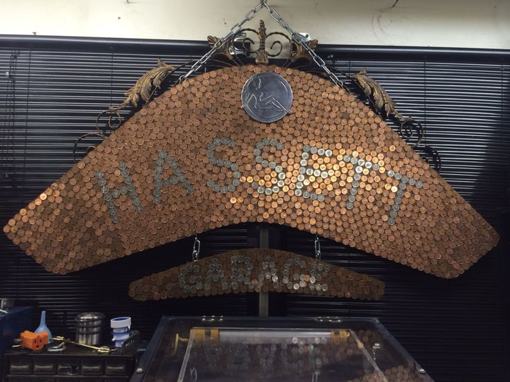 Man Cave Sign - Pennies and old coffee table